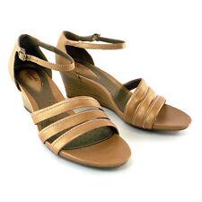 Clarks Size 9.5M Artisan Women's Flutter Wedge Sandal Color Beige  # 10324