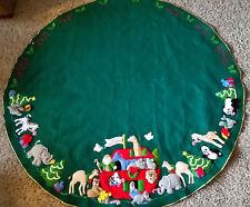 Finished Bucilla Christmas Noah's Ark Felt Tree Skirt, Tablecloth, Cover