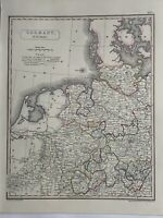 1819 Northwest Germany Original Antique Hand Coloured Map by Aaron Arrowsmith