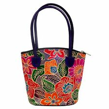 Leather Handmade Tote Bag Indian Shantiniketan Boho Purse Shopper Girls Floral