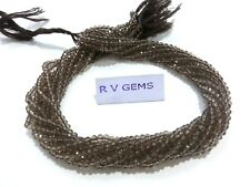 """10 Strands Smoky Quartz Rondelle Faceted 3-4mm Hydro Beads 13""""inch"""