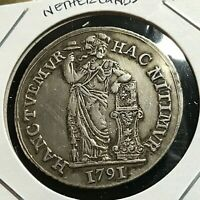 1791  NETHERLANDS SILVER ONE GULDEN SCARCE COIN