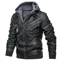 Mens Leather Jacket Bomber Removable Hood Ride Motorcycle Faux Leather Jackets