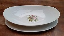 2 Vintage Seltmann Weiden Bavaria Annabell Roses Oval Serving Plates 12.20""