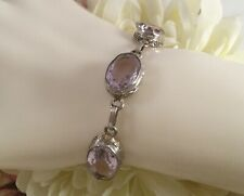 Antique Vintage Jewelry Sterling Silver Bracelet with Amethysts Deco Jewellery