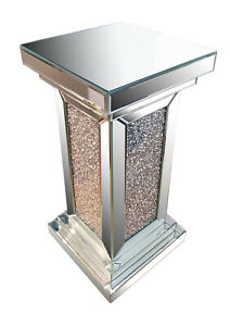 Silver Crushed Diamond Mirrored Pillar, Stand side table Sparkling