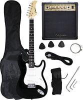 BLACK Electric Guitar+15w AMP+Strap+Cord+Gigbag NEW