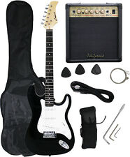 BLACK Electric Guitar+15w AMP+Strap+Cord+Gigbag NEW