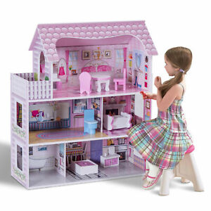 3-Level Children's Wooden Dollhouse Kids Pretend Play House Cottage w/ Furniture