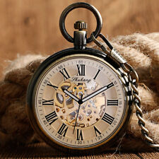 Steampunk Automatic Mechanical Self Winding Open Face Pocket Watch Gift Chain