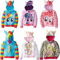 Kids Girl Hoodie My Little Pony Jumper Sweater Sweatshirt Winter Zip Coat Jacket