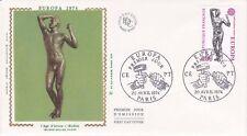Enveloppe maximum 1er jour FDC Soie 1974 Europa Sculpture de Rodin