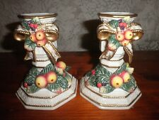 Fitz And Floyd Snowy Woods Christmas Candlestick Holders New w out box store dis