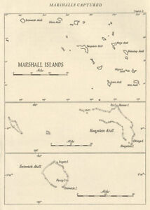 The Marshall Islands 1943/44. Pacific Ocean. World War 2 1961 old vintage map