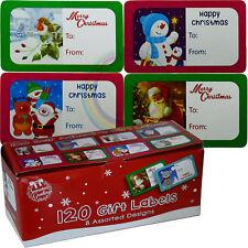 120 etiquetas de regalo de Navidad Auto Adhesivo Etiquetas Lindo 8 Surtido Diseño Navidad Nuevo