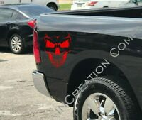 2 Evil Skull REAR BED Vinyl Decals For Any Car Truck Stickers Death face Graphic