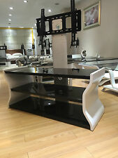 "Designer Wooden TV Stands White Cabinet with Bracket for 32"" 65"" Black Glass"