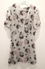 TOPSHOP Womens Floral Dress Light Grey Short Sleeves Size 14