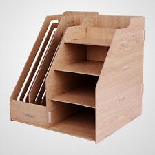 Office Wooden Board Desktop Organizer Rack Magazine Holder Storage Bracket Shelf
