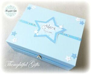 Personalised Large New Baby Boy's Star Keepsake/ Memory Box/ Christening Gift