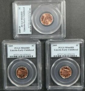 2009 D / 2009 1C Lincoln EARLY CHILDHOOD Coin Cent PCGS MS66RD SET OF 3