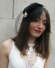 Black Vintage Birdcage Veil Feather Fascinator Headpiece Pearl 1920s Flapper R21