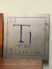 Ti Periodic table plaque: 1 ft2 (300mm) oxidized, inked *& etched 99.9% pure Ti