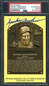 Sparky Anderson PSA DNA Cert Signed Gold HOF Plaque Autograph