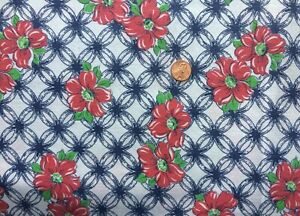 FLORAL Full Vtg FEEDSACK Quilt Sewing Doll Clothes Craft Fabric Navy Red Green