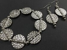Chunky Silver Stretch Bracelet With Circles Beads And FREE EARRINGS