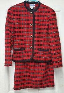 Pendleton Women's Red Scottish Plaid 2 Piece Suit 100% Virgin Wool Size 8 Petite