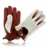 MEN'S REAL GOATSKIN LEATHER & COTTON MESH DRIVING FASHION DRESS GLOVES