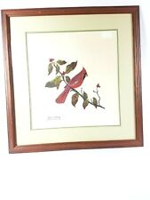 Charles T. Crume Jr. Large Cardinal Red Bird Matted Framed Drawing Signed