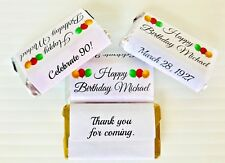 72 Birthday Personalized Candy Wrappers FOR YOUR HERSHEY MINIATURES FAVORS