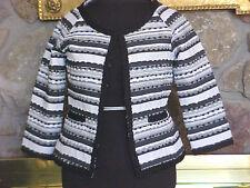 Womens Jacket Size 10 Bob Mackie Studio Black & White Stripe Crop Ribbon Trim