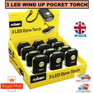 Rolson LED DYNO WIND UP POCKET TORCH LIGHT LAMP BLACK WALKING CAMPING TRAVEL