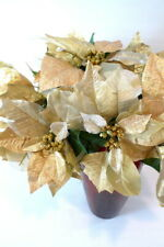 13 Gold Fabric POINSETTIA BRANCHES w/ Matching Green Branches CHRISTMAS FLORAL