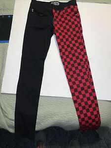 royal bones jeans red & black checkered size 9
