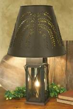 Primitive Large Rustic Brown 4 Way Milkhouse Tin Table Lamp With Willow Shade
