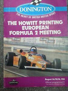 DONINGTON PARK 14/15/16 Aug 1981 European Formula 2 Official Programme