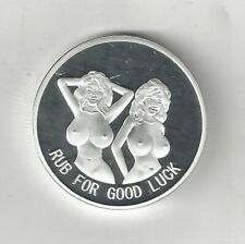 2 NUDE BUSTY WOMAN LADY HEADS TAILS SILVER PLATED GOOD LUCK COIN TOKEN MEDAL