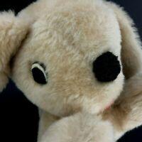 Vintage Plush Stuffed DOG Animal Toy Tan Puppy Vtg Swimmer Puppy Blonde 1950-60s