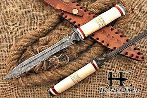 HUNTEX Custom Handmade Damascus 330 mm Long Full-Tang Camel Bone Spear Dagger