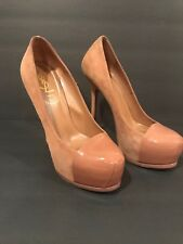 YVES SAINT LAURENT TRIBTOO LEATHER CAP TOE PLATFORM PUMPS CAMEL HEELS SHOES38.5