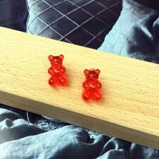1 Pair Cute Cartoon Bear Stud Earrings Candy Color Resin Women Girls Jewelry