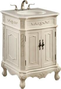 DANVILLE BATHROOM VANITY SINK TRANSITIONAL 24-IN SINGLE ANTIQUE WHITE BRAS