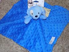 KIDS PREFERRED SECURITY BLANKET PUPPY DOG BRIGHT BLUE EMBOSSED POPCORN DOT SPOT