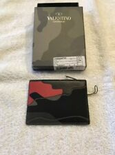 New Valentino Garavani Camouflage Leather Canvas Unisex Wallet Card Holder $290