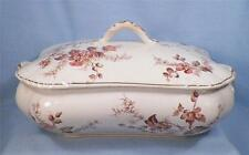 Antique Genoa Brown Transferware Tureen Smith Ford England Covered Serving Dish