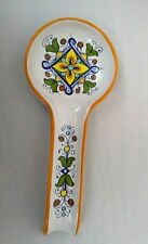 Nova Deruta Spoon Rest Made in Italy Ceramic Pottery Floral Pattern 11""